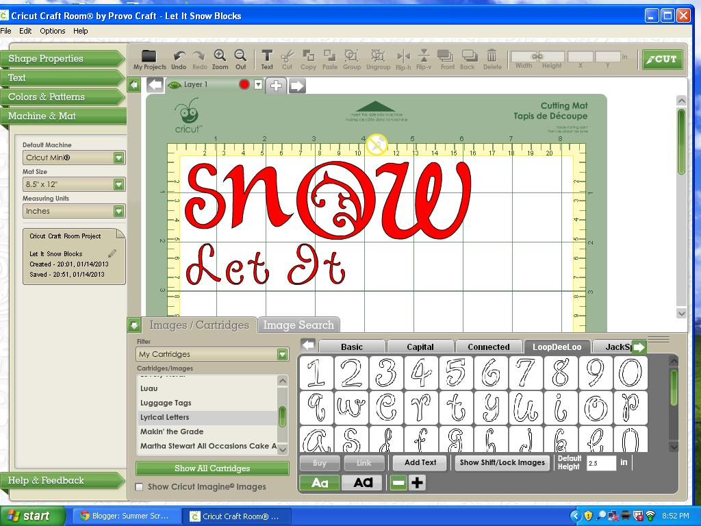 Let it snow blocks with cricut tutorial food crafts and for Cricut craft room fonts