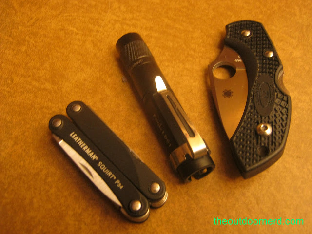 From left: Leatherman Squirt PS4 multi-tool, Fenix LD01 flashlight and Spyderco Dragonfly pocket knife