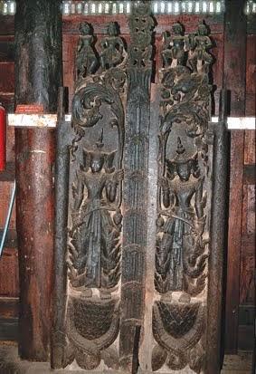 Teak wood carvings in a monastery
