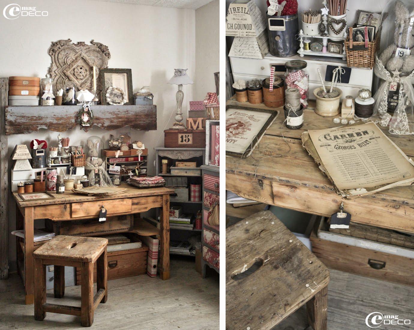 Dans l'atelier de Kristin, une table de travail en bois et un tabouret chinés à Aix-en-Provence