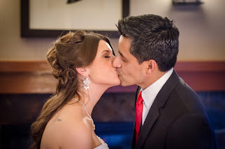 Christian and Katie kiss after their wedding ceremony - Patricia Stimac, Seattle Wedding Officiant