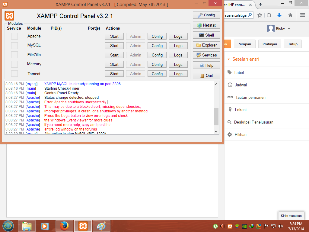how to change php.ini file in xampp