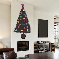 arbol de navidad pegado a la pared