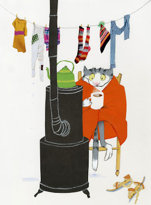 robert wagt illustration of an ice skating almost drowned cat getting warm in front of stove