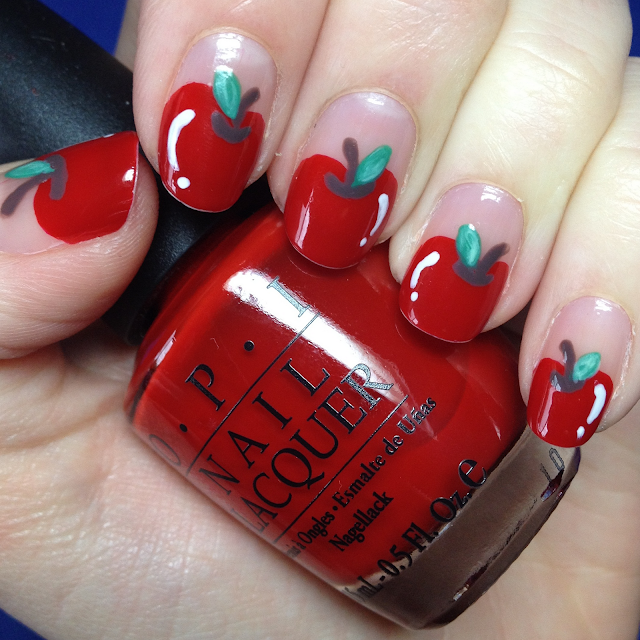 Cute Red Apple Nail Art