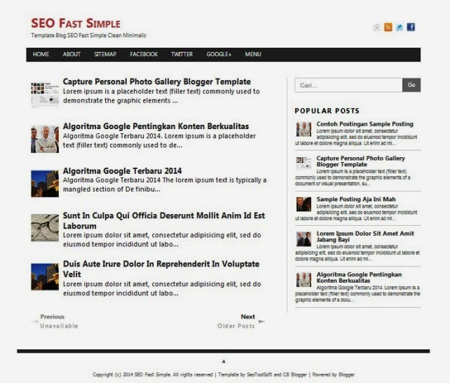 SEO Fast Simple Clean -Template Blog SEO