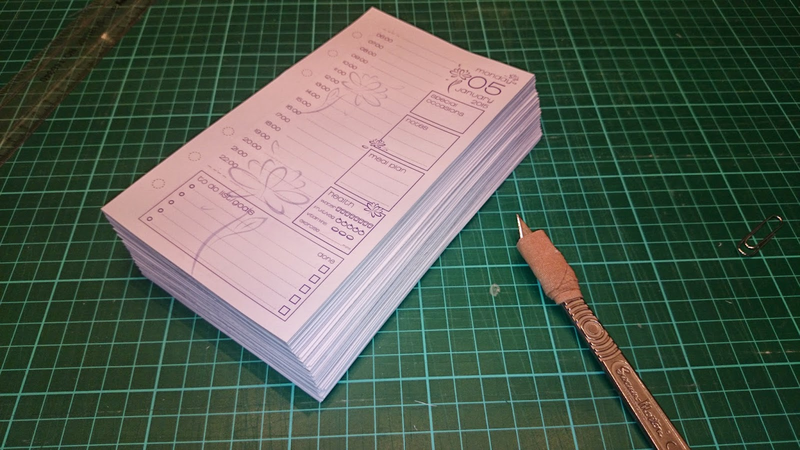 DIY cutting and hole punching filofax planner 2015 diary inserts page a day