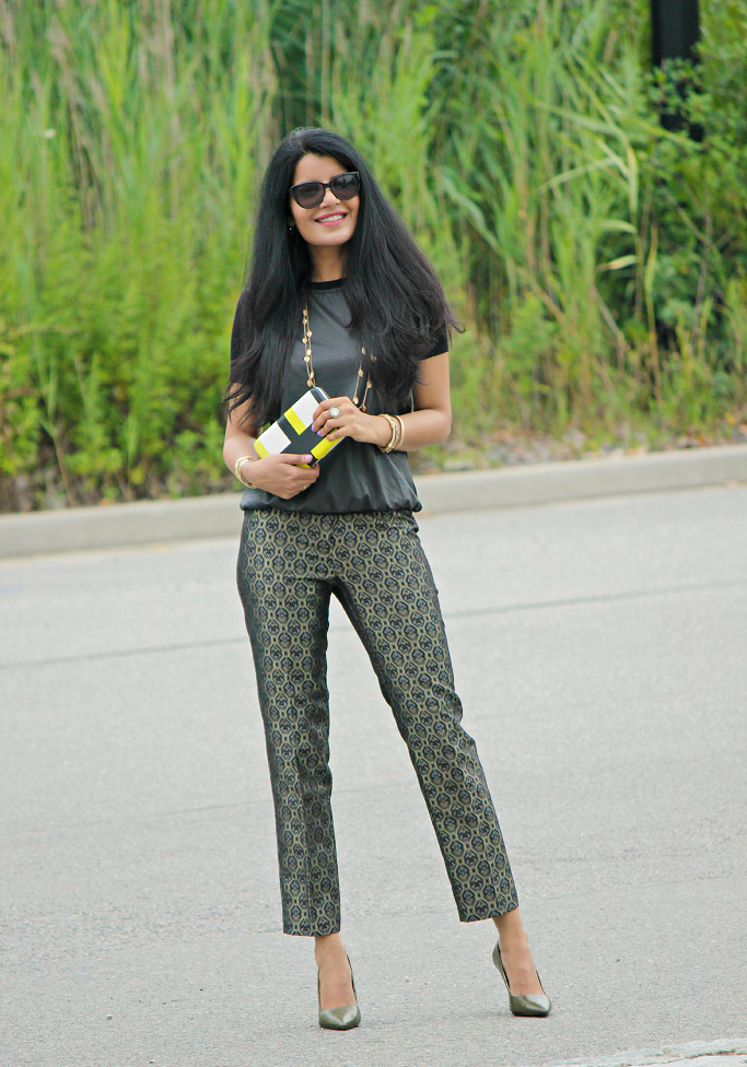 Fall Fashion Trends, Fall 2014 fashion trends, Brocade Pants, Holiday Party Outfits, Zara Leather Top