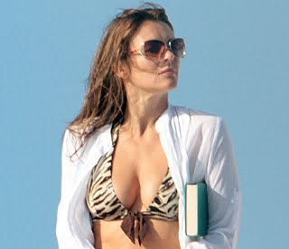 LIZ HURLEY COVERS UP