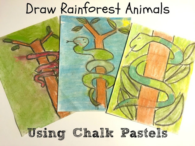 Rainforest Animals with Chalk Pastel Drawings