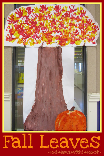 Fall Colors on Tree Created by Painted Handprints from Tree RoundUP at RainbowsWithinReach