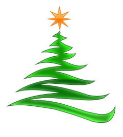 Yellow Christmas star decorated on green Christmas tree graphic image
