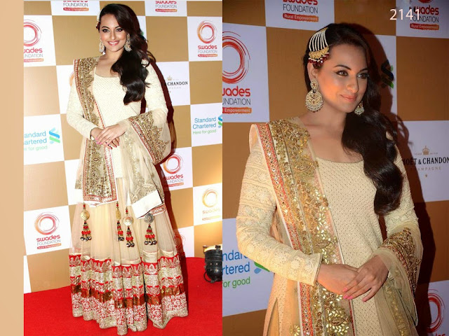 Bollywood Sonakshi Sinha Cream Lehenga