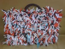 Bolso tipo canasta de tiras con amarras