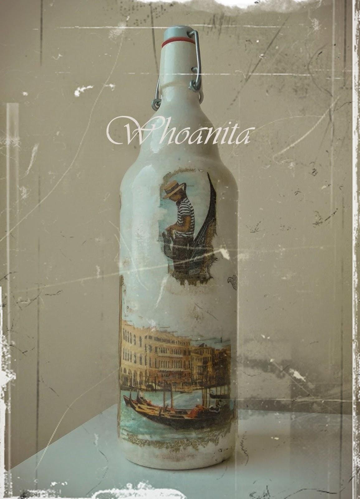 butelka Wspomnienia z Wenecji, decoupage, transfer