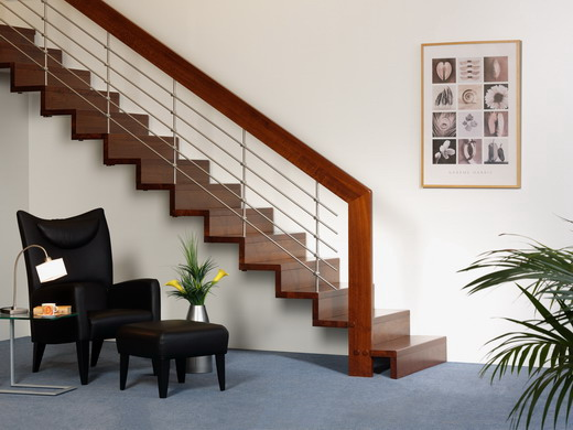 The Bent House Beams and stair design