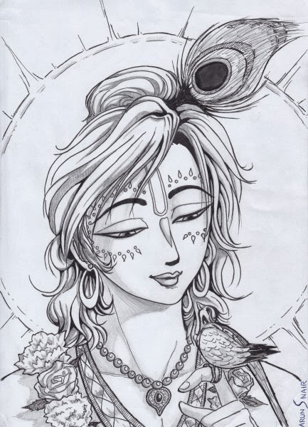 Lord krishna pencil sketch image
