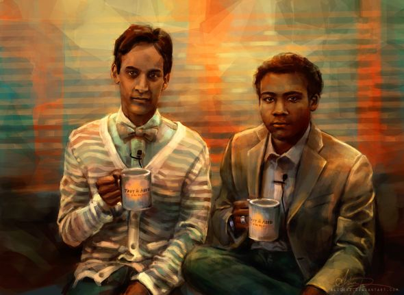 Alice X. Zhang alicexz deviantart pinturas de filmes séries Troy and Abed in the morning - Community
