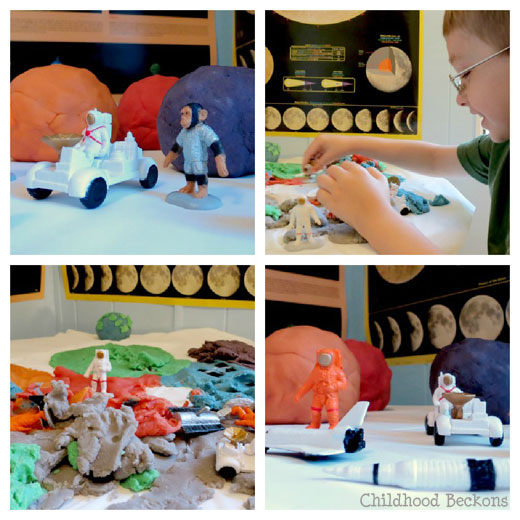 imaginative play with space toys and play dough