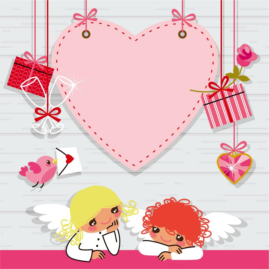 バレンタインデーのハート型ボタン Heart romantic valentine vector elements イラスト素材3