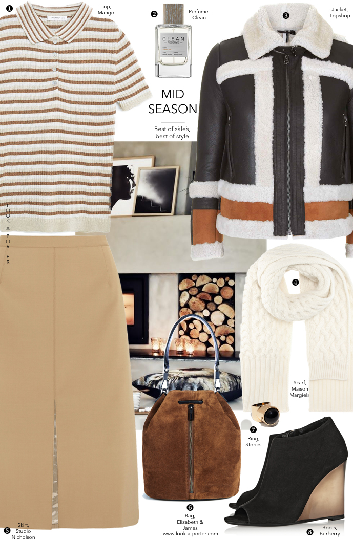 Casual, camel & black outfit idea styled with season sales and transition pieces via www.look-a-porter.com