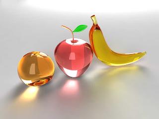 3d muz elma portokal arka plan resmi