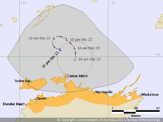 Australische Zyklonsaison: Tropisches Tief 2 (potenziell Tropensturm GRANT) vor Nord-Australien, Australien, Australische Zyklonsaison, 2011, Dezember, aktuell, Grant, Verlauf, Zugbahn, Vorhersage Forecast Prognose,