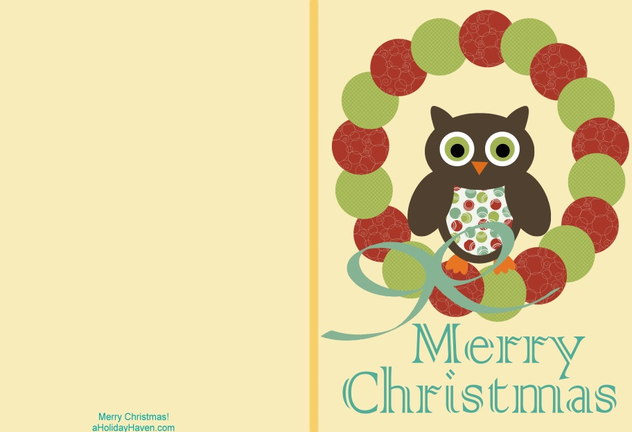 Holiday Haven: Free Printable Christmas Cards - Cute Owl Cards