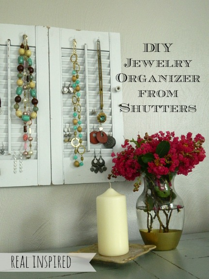 DIY Jewelry Organizer from Shutters