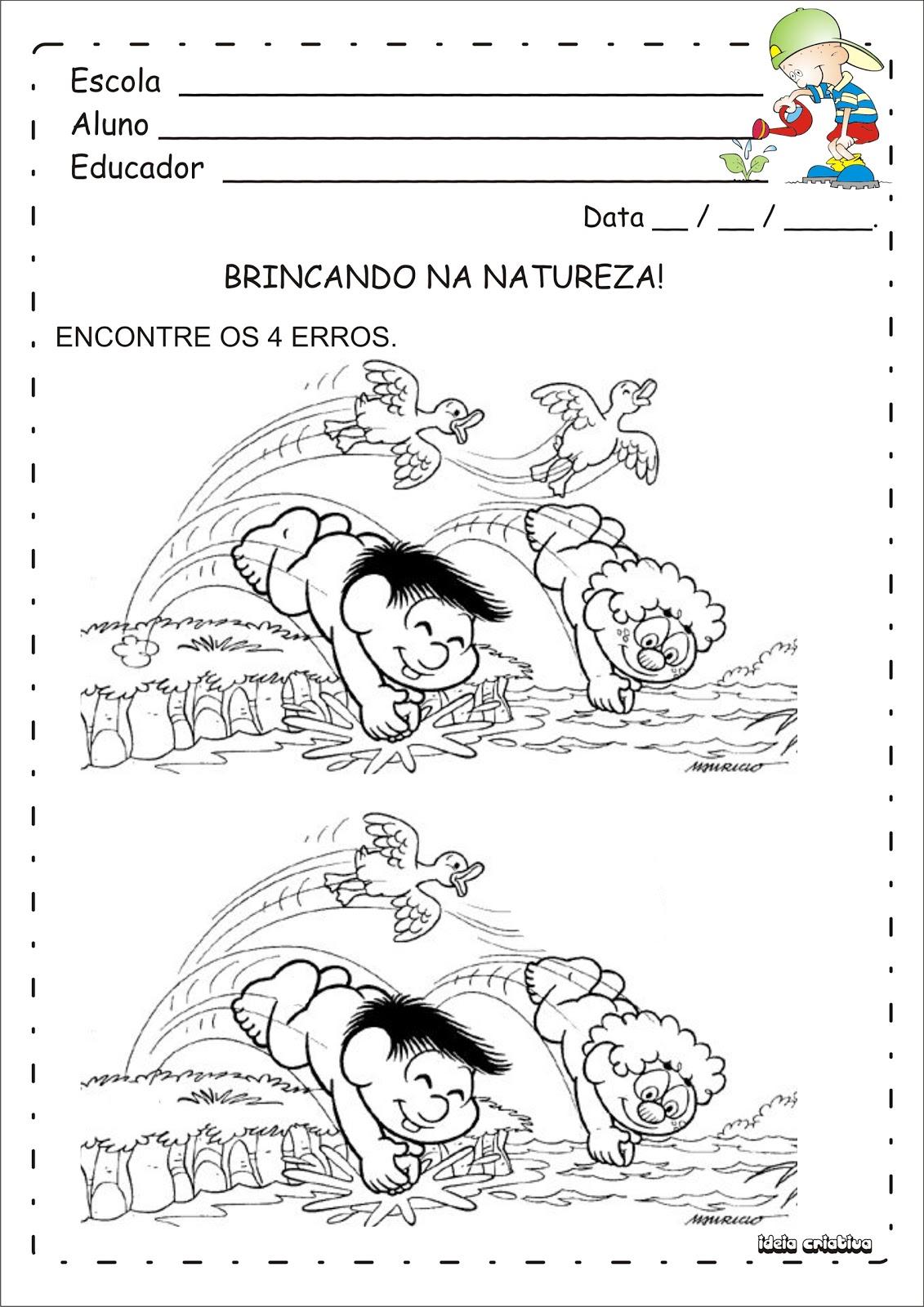 Fabuloso Atividade 4 Erros Turma da Mônica Meio Ambiente Educação Infantil  WA58