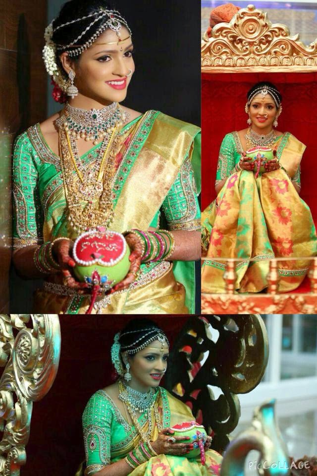 Real Bride in Golden Threads Blouse