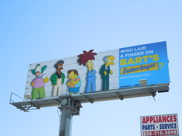 laid finger on Bart's Butterfinger Simpsons billboard
