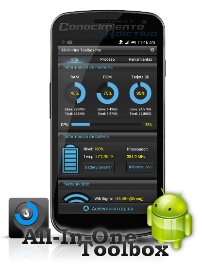 All-In -One Toolbox Pro (29 tools) v4.3 [incl.  10 plugins Extras] - Tien 29 Features optimization for Android rendir at the optimum speed !