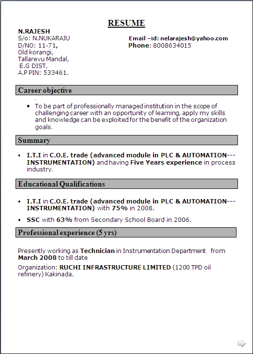 Resume Sample For I T I In C O E Trade Advanced Module