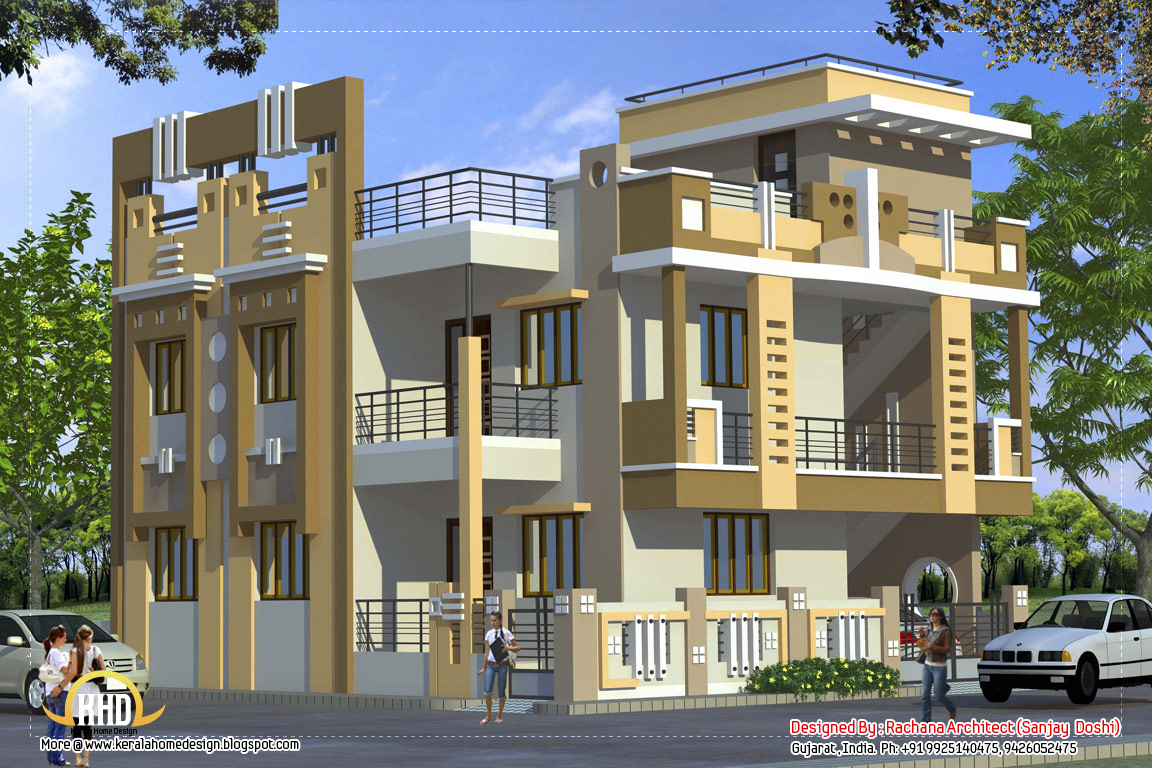 Front Elevation Designs For 4 Floors Building : Indian residential building elevation omahdesigns