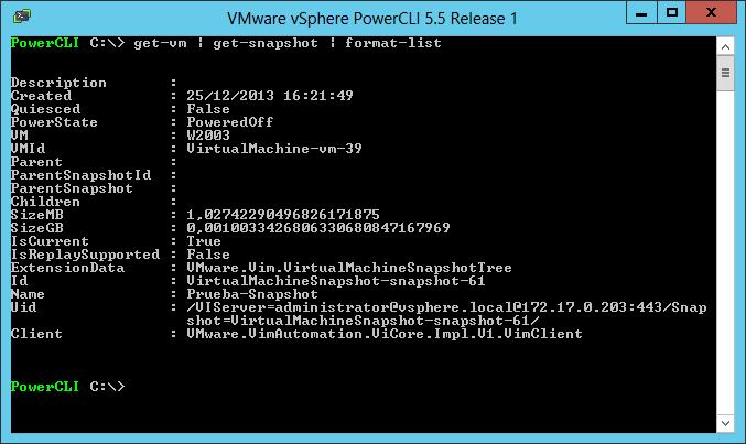 VMWare: Detección de VMs con snapshots con PowerCLI