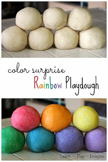 How to make rainbow color surprise playdough - Kids will love the surprise color that appears from this super soft playdough recipe!