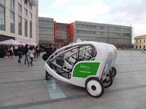 """Cute """"Cycle Tricycle taxi's(Eco Taxi)"""" at Galeria Krakowska in Krakow"""