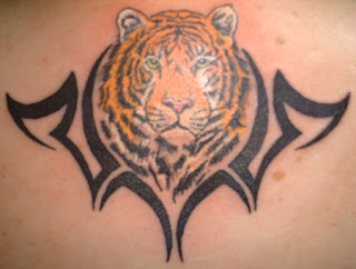 tiger tattoo with tribal
