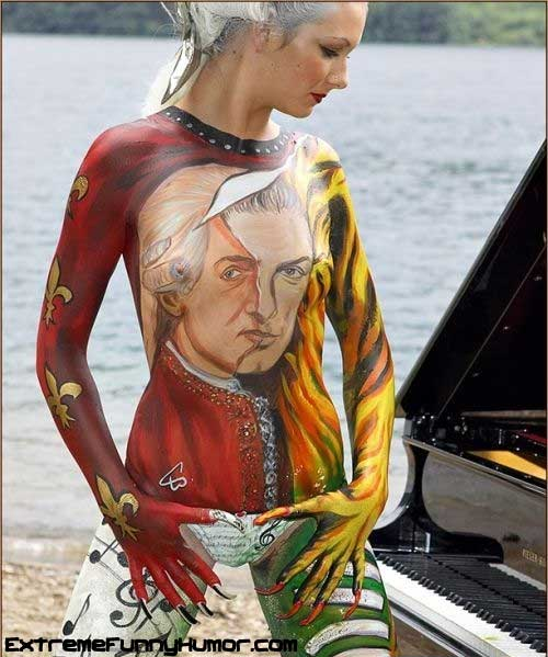 art paint on the body such as wearing clothes
