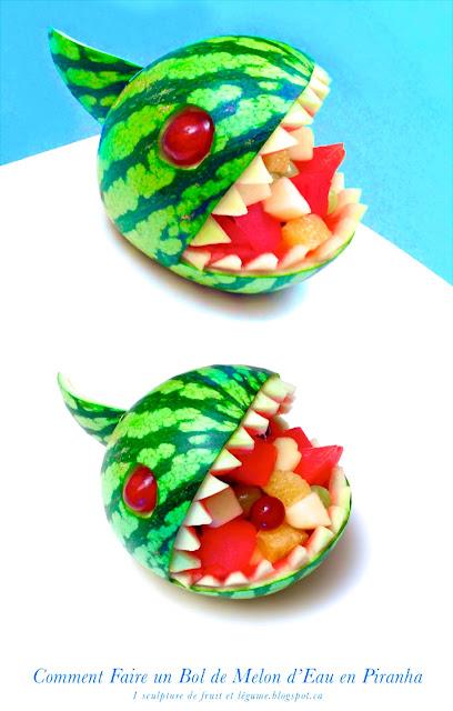 1 recette 1 minute sculpture de fruit comment faire un bol de melon d 39 eau past que en piranha - Comment faire murir un melon ...