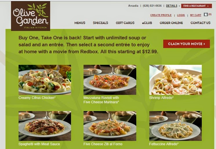 Josie 39 S Smitty Deals Olive Garden Dine In Get One Meal For Free W Free Redbox Movie