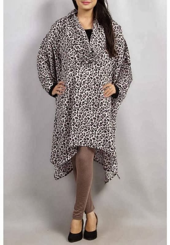 Grapes Woolen Poncho Stone New Work Winter Dresses Collection 2014 For Girls And Women