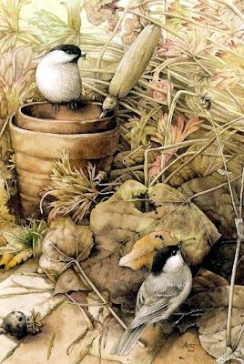 ilustración vintage pájaros y maceta