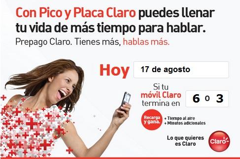 pico y placa claro colombia hoy Viernes 17 agosto 2012 hoy es dia pico