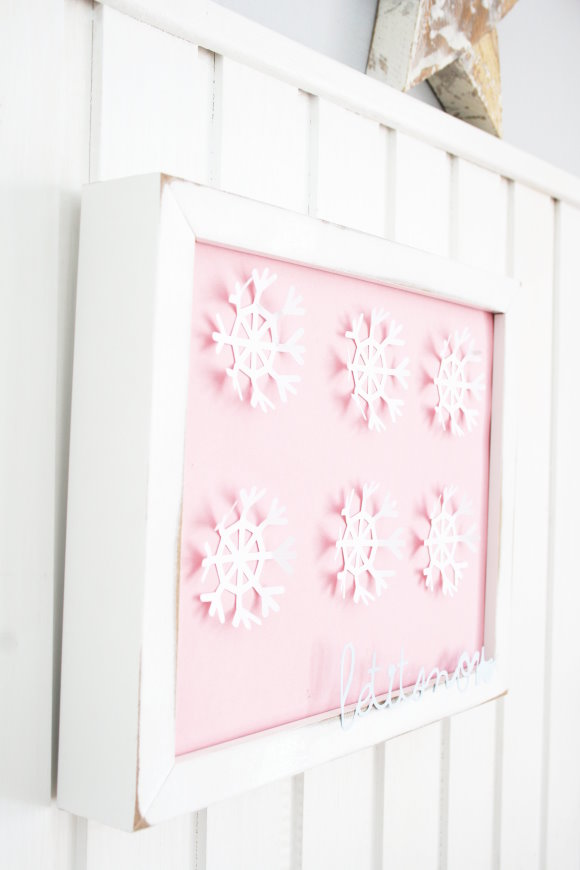 Selfmade snowflakes on the wall