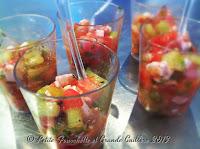 Salade fraîcheur pastèque, fraises,concombre, féta en verrine