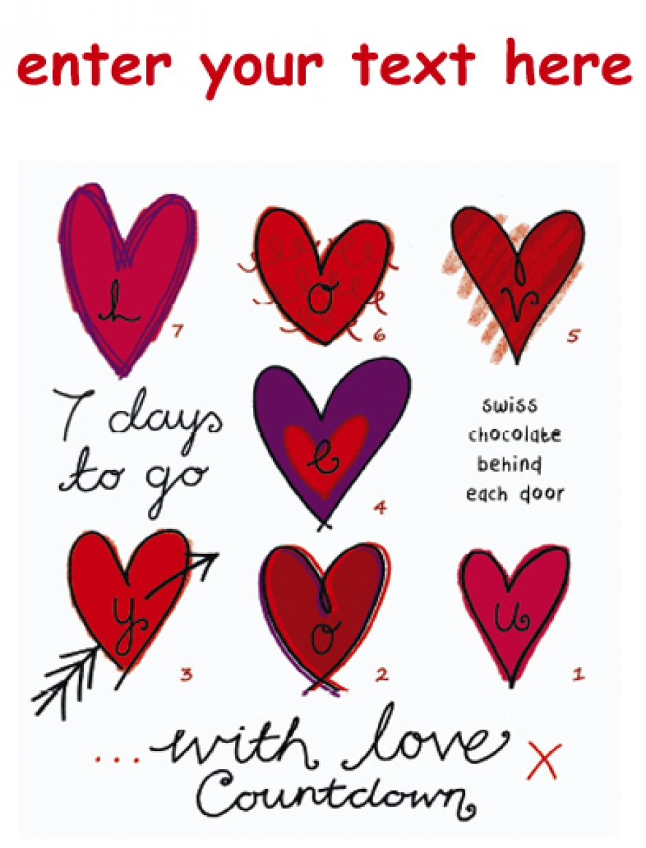 "calendars to choose from. I also like this ""with love"" countdown"
