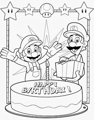 Mario and Luigi Birthday Printable Coloring Page