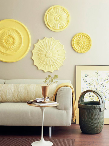 Painted In Graduated Shades Of Yellow, The Discs Add Style To A Living  Room. Made Of Urethane And Available At Most Home Centers For Less Than  $50, ...